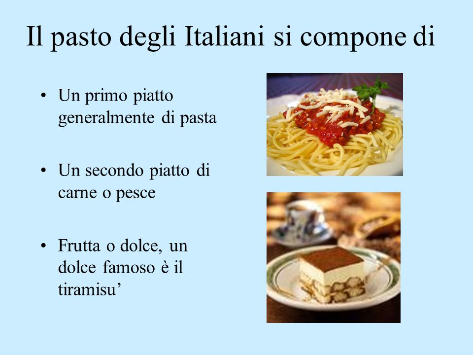 Il pasto degli Italiani si compone di