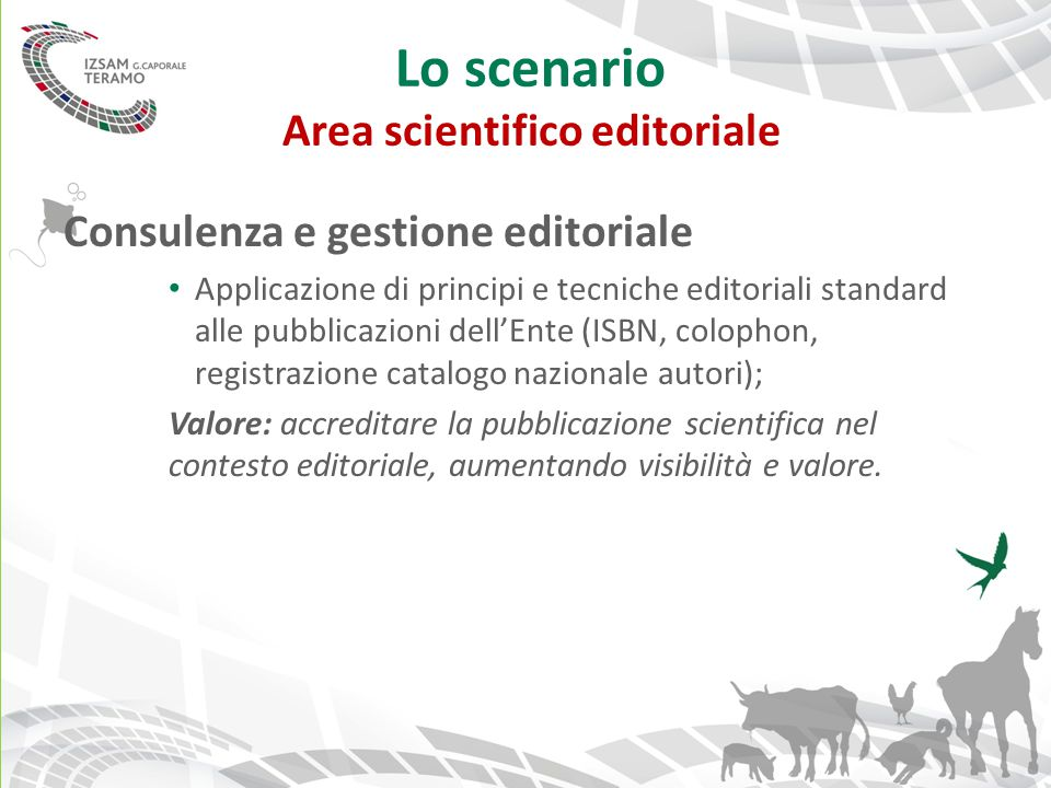 Lo scenario Area scientifico editoriale