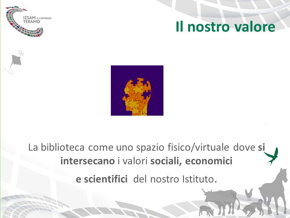 Il nostro valore La biblioteca come uno spazio fisico/virtuale dove si intersecano i valori sociali, economici e scientifici del nostro Istituto.