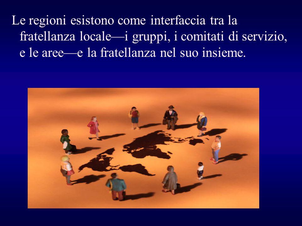 Le regioni esistono come interfaccia tra la fratellanza locale—i gruppi, i comitati di servizio, e le aree—e la fratellanza nel suo insieme.