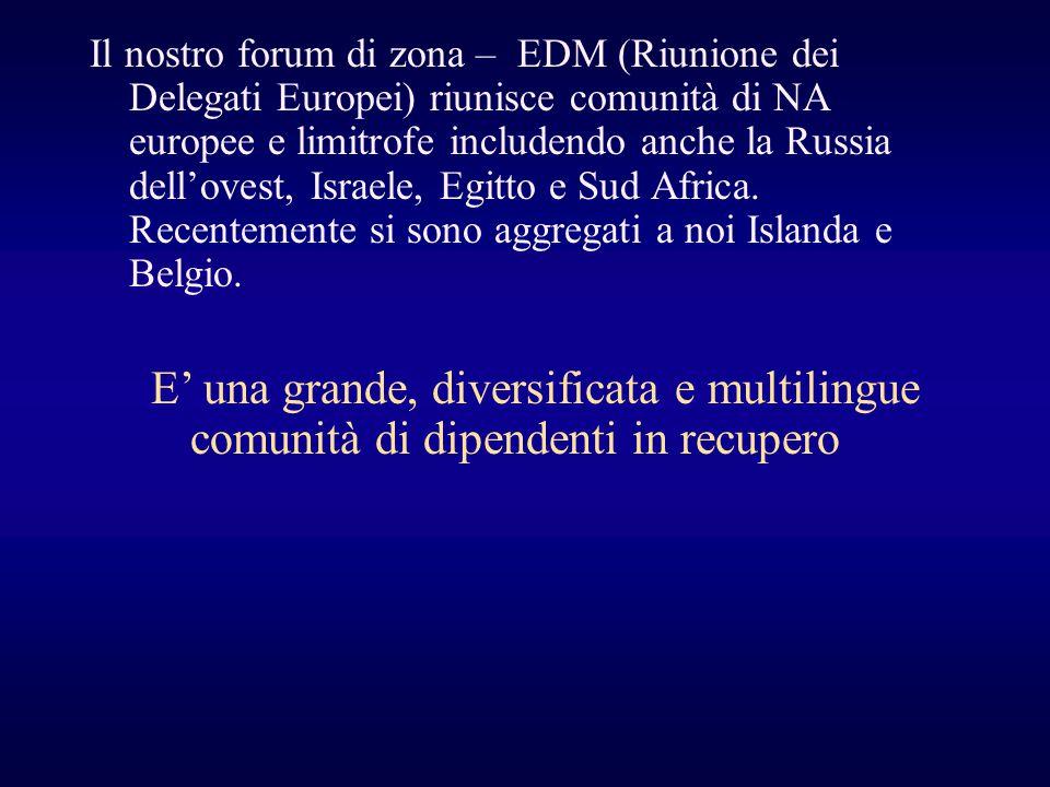Il nostro forum di zona – EDM (Riunione dei Delegati Europei) riunisce comunità di NA europee e limitrofe includendo anche la Russia dell'ovest, Israele, Egitto e Sud Africa. Recentemente si sono aggregati a noi Islanda e Belgio.