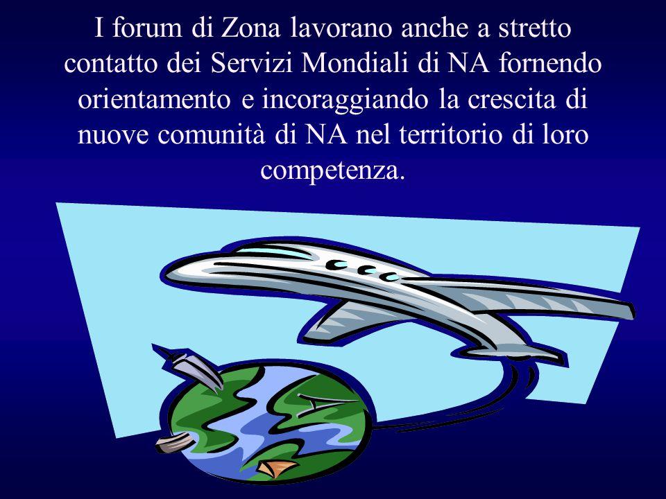 I forum di Zona lavorano anche a stretto contatto dei Servizi Mondiali di NA fornendo orientamento e incoraggiando la crescita di nuove comunità di NA nel territorio di loro competenza.