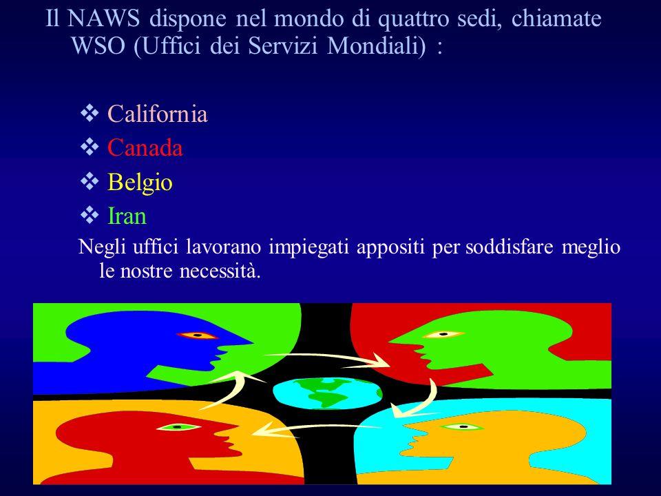 Il NAWS dispone nel mondo di quattro sedi, chiamate WSO (Uffici dei Servizi Mondiali) :
