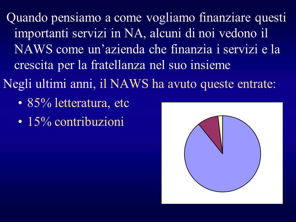 Quando pensiamo a come vogliamo finanziare questi importanti servizi in NA, alcuni di noi vedono il NAWS come un'azienda che finanzia i servizi e la crescita per la fratellanza nel suo insieme
