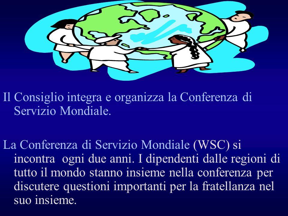 Il Consiglio integra e organizza la Conferenza di Servizio Mondiale.