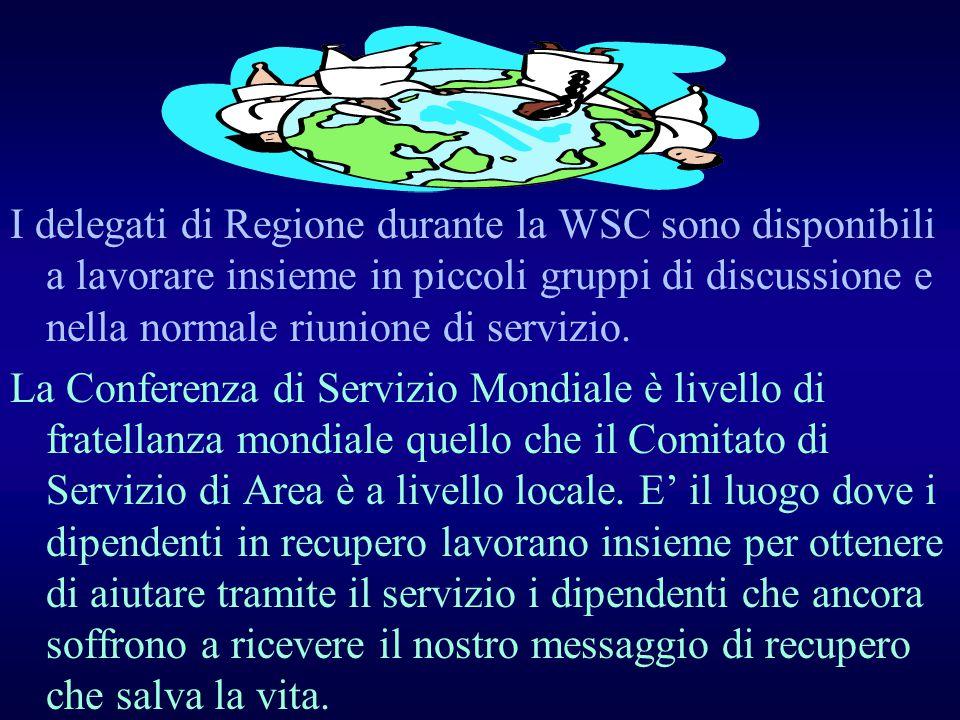 I delegati di Regione durante la WSC sono disponibili a lavorare insieme in piccoli gruppi di discussione e nella normale riunione di servizio.