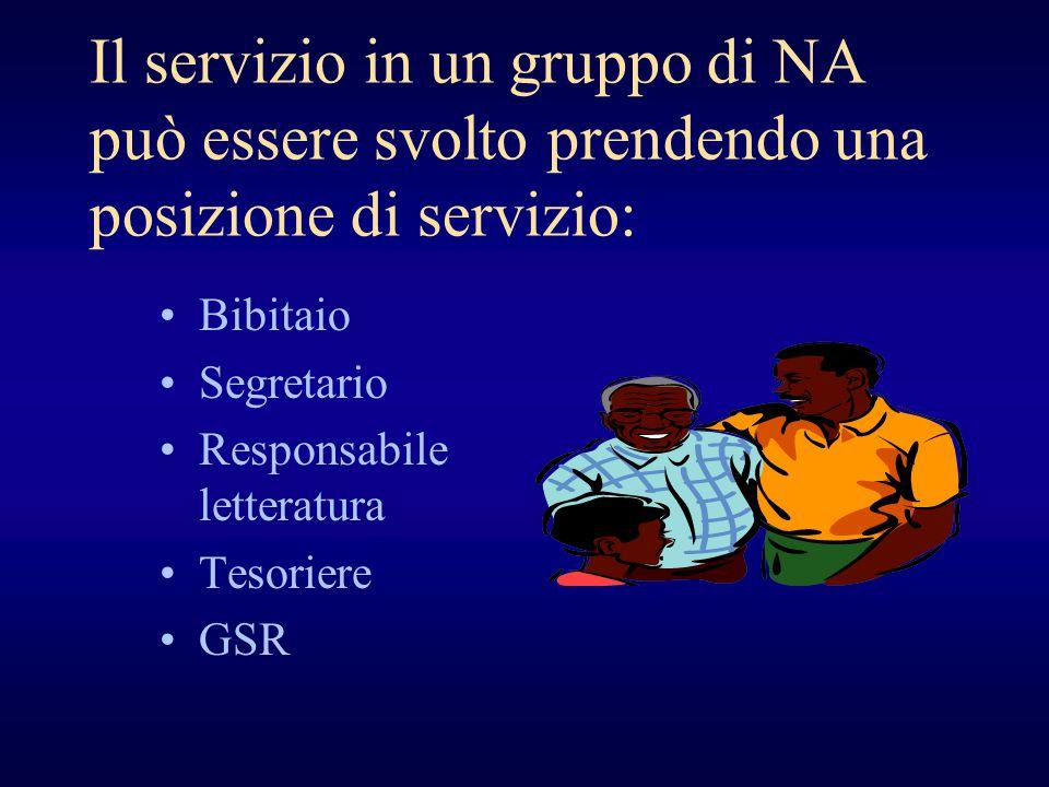 Il servizio in un gruppo di NA può essere svolto prendendo una posizione di servizio: