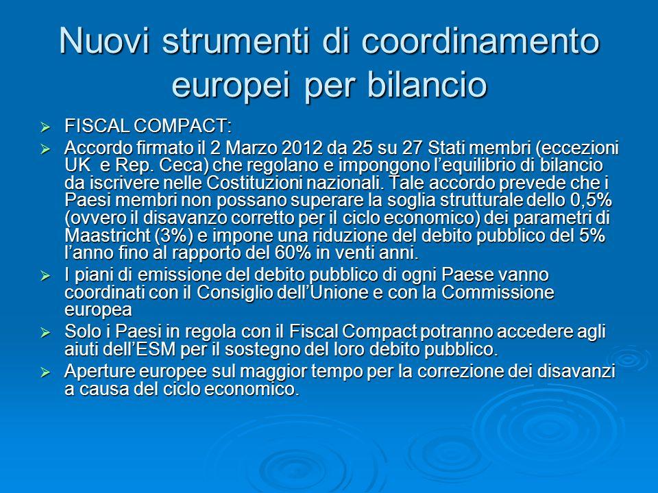 Nuovi strumenti di coordinamento europei per bilancio