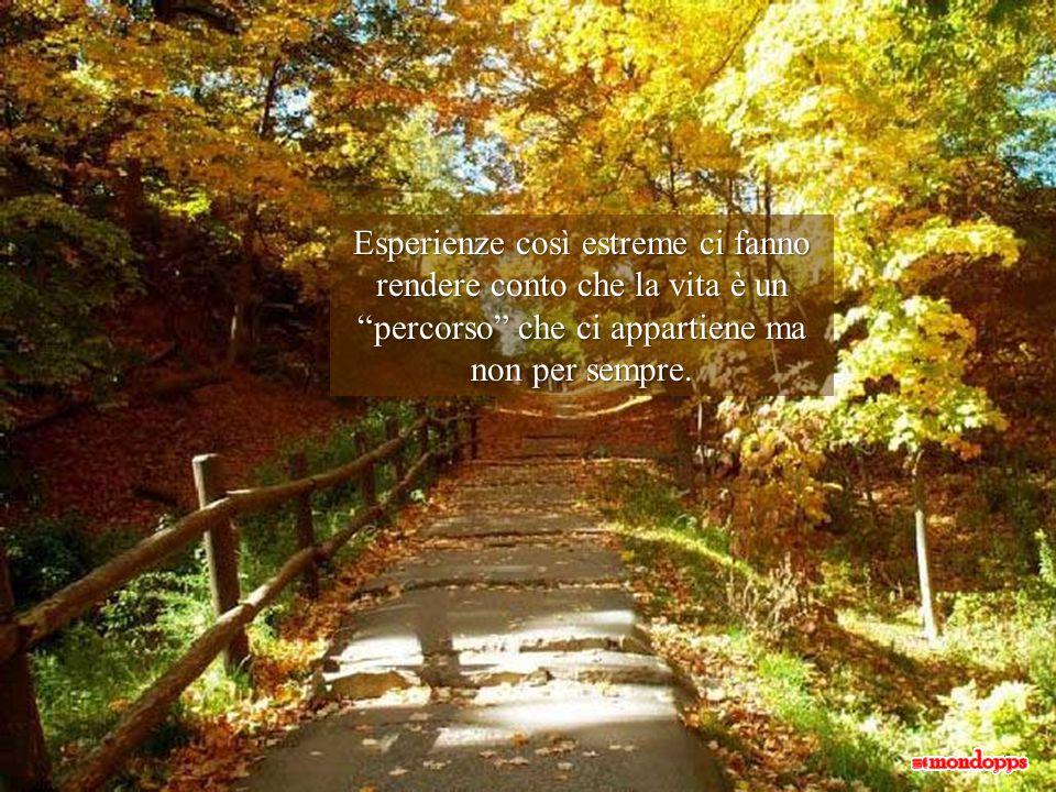 Esperienze così estreme ci fanno rendere conto che la vita è un percorso che ci appartiene ma non per sempre.
