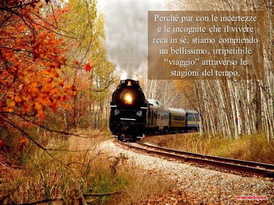 Perché pur con le incertezze e le incognite che il vivere reca in sé, stiamo compiendo un bellissimo, irripetibile viaggio attraverso le stagioni del tempo,
