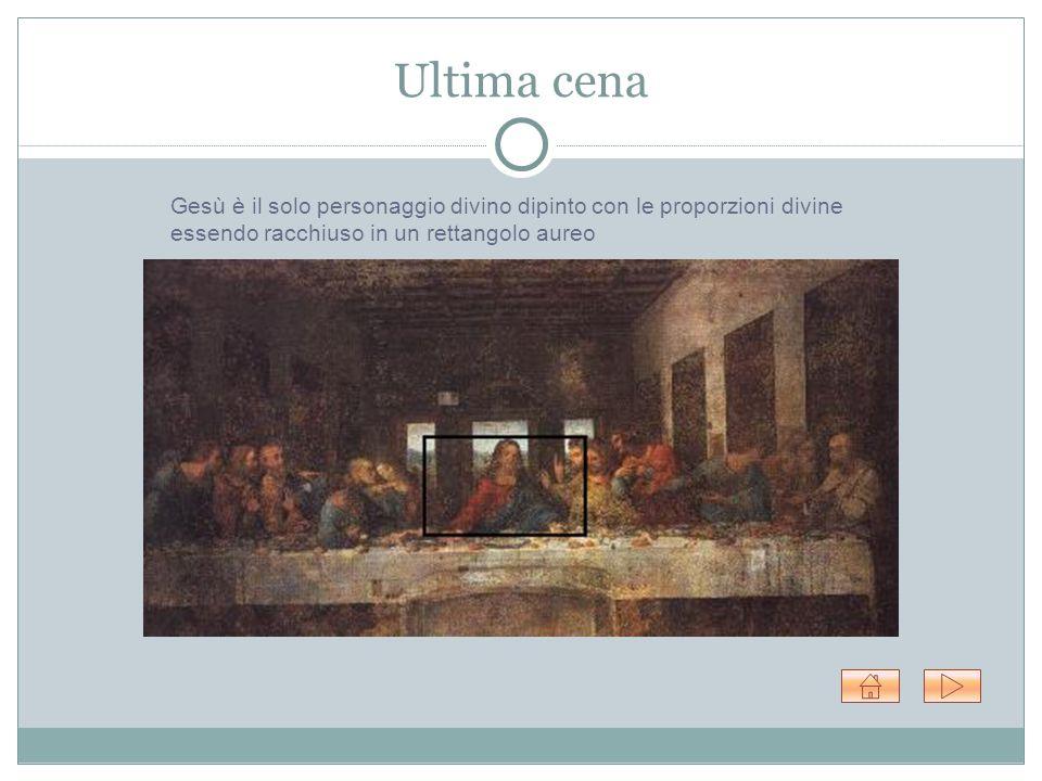 Ultima cena Gesù è il solo personaggio divino dipinto con le proporzioni divine essendo racchiuso in un rettangolo aureo.