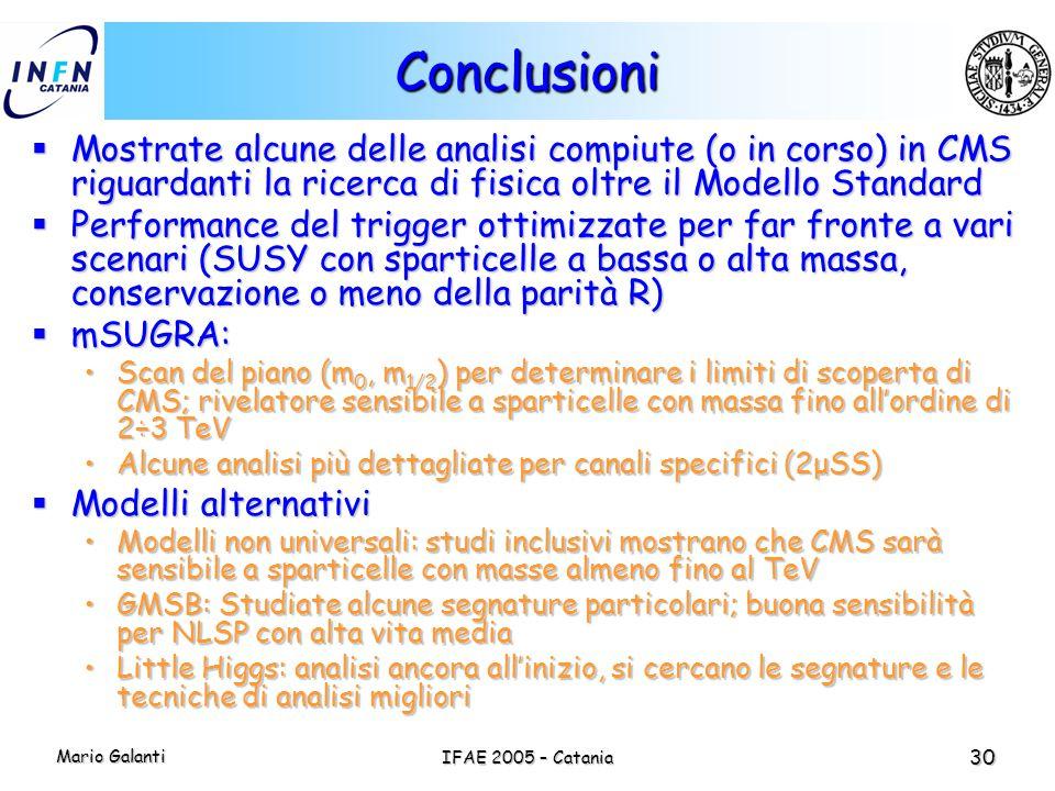 Conclusioni Mostrate alcune delle analisi compiute (o in corso) in CMS riguardanti la ricerca di fisica oltre il Modello Standard.