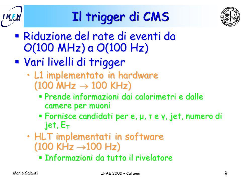 Il trigger di CMS Riduzione del rate di eventi da O(100 MHz) a O(100 Hz) Vari livelli di trigger. L1 implementato in hardware (100 MHz  100 KHz)