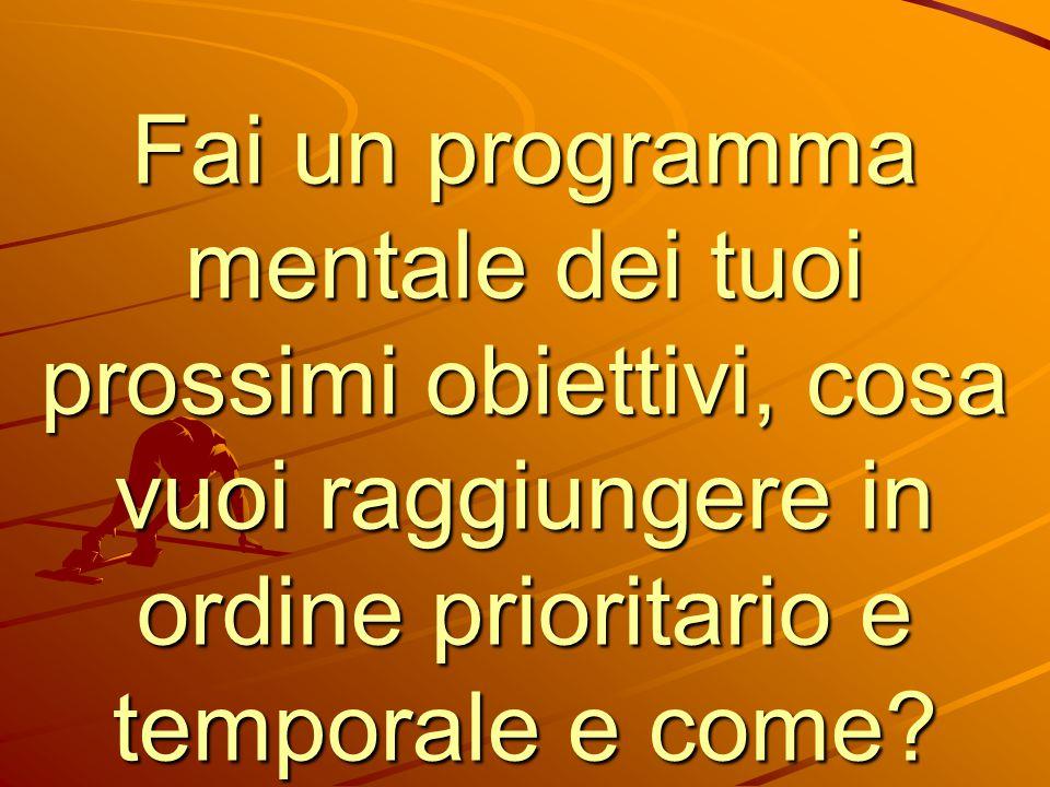 Fai un programma mentale dei tuoi prossimi obiettivi, cosa vuoi raggiungere in ordine prioritario e temporale e come