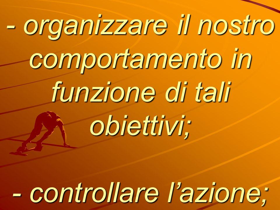 - organizzare il nostro comportamento in funzione di tali obiettivi; - controllare l'azione;