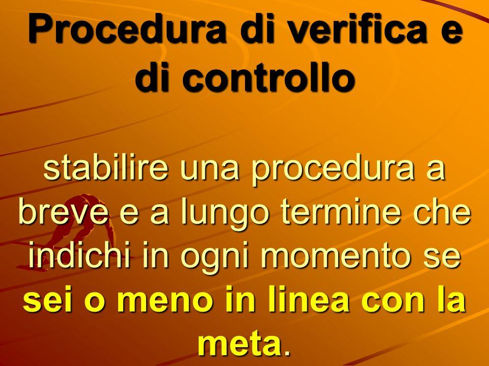 Procedura di verifica e di controllo stabilire una procedura a breve e a lungo termine che indichi in ogni momento se sei o meno in linea con la meta.