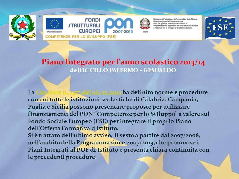 Piano Integrato per l anno scolastico 2013/14 dell'IC CILLO PALERMO - GESUALDO