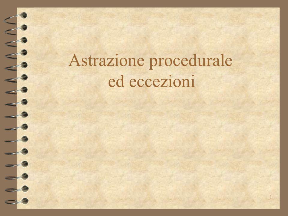 Astrazione procedurale ed eccezioni