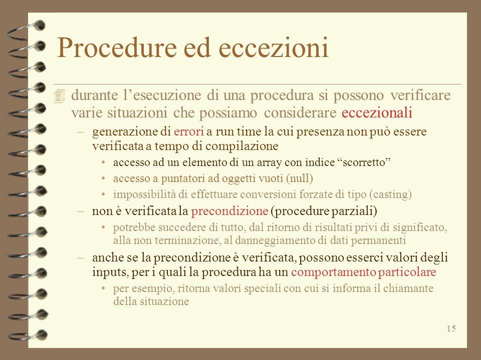 Procedure ed eccezioni