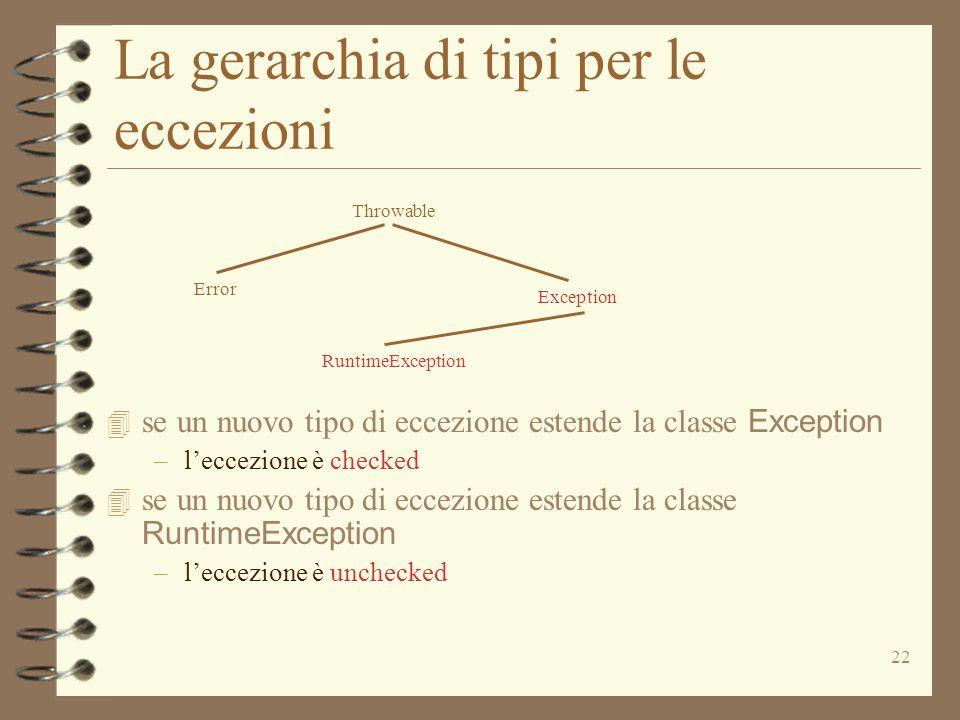 La gerarchia di tipi per le eccezioni