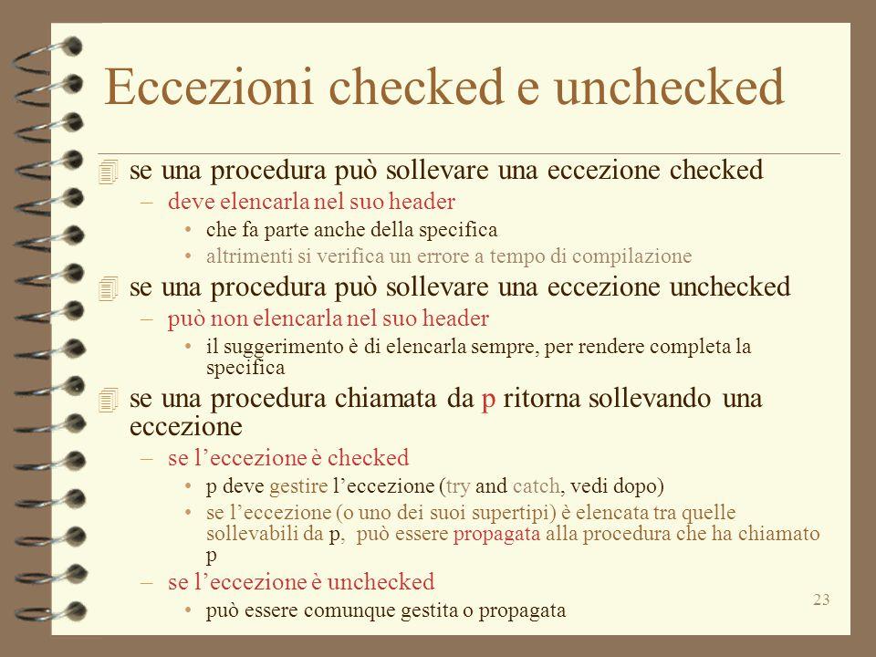 Eccezioni checked e unchecked