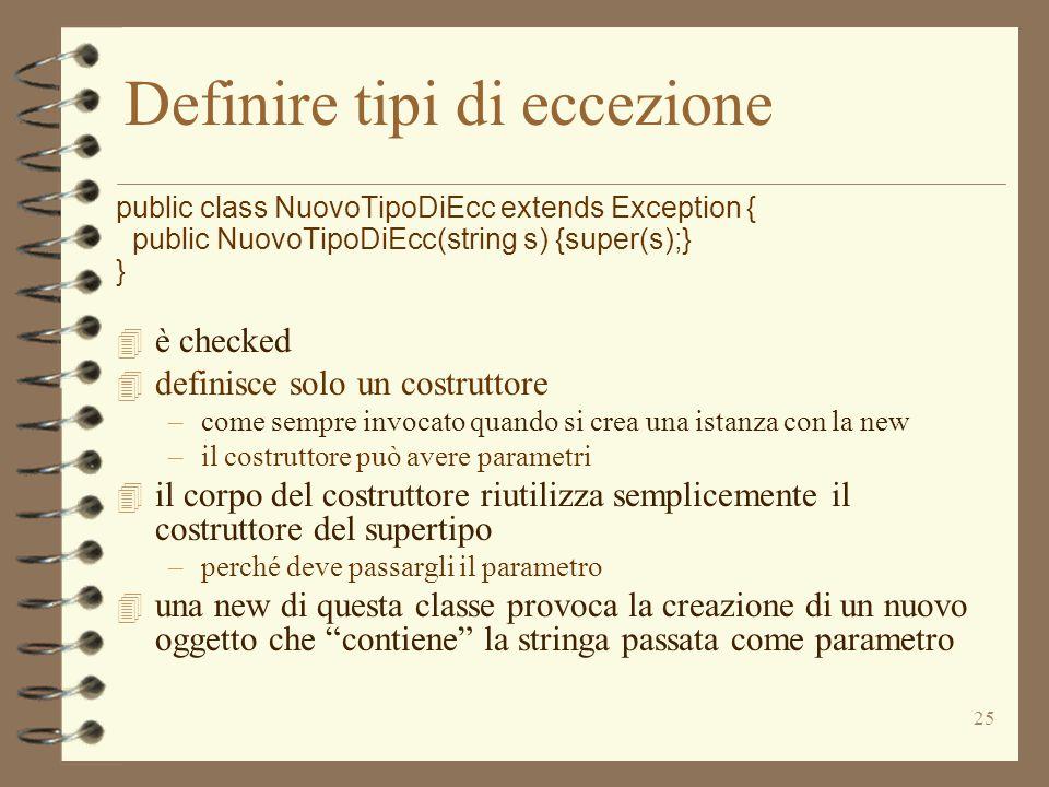 Definire tipi di eccezione