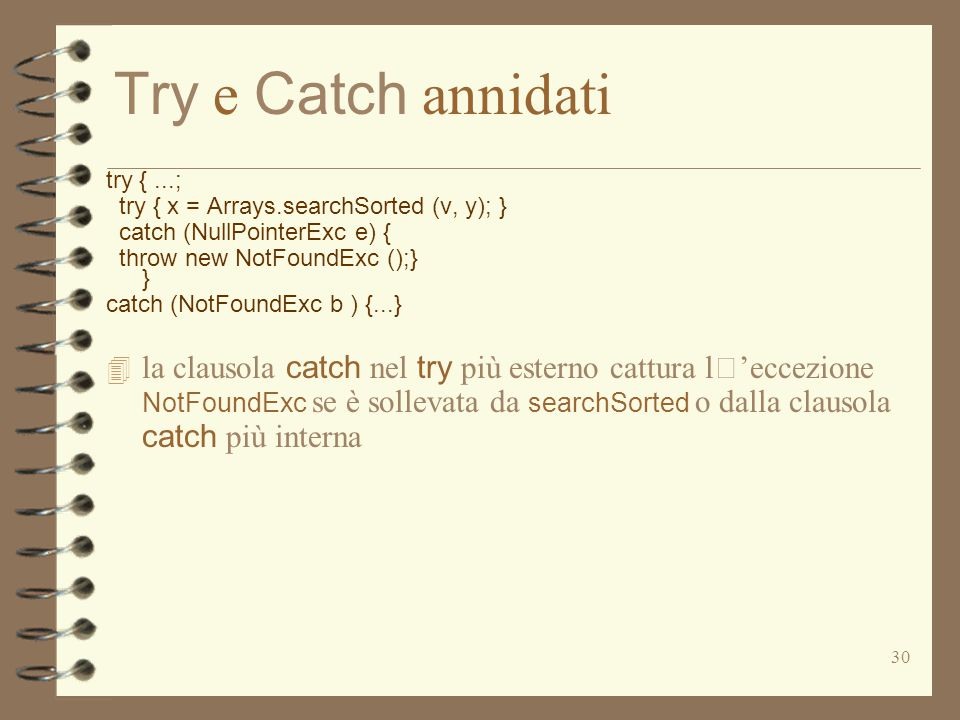 Try e Catch annidati try { ...; try { x = Arrays.searchSorted (v, y); } catch (NullPointerExc e) {