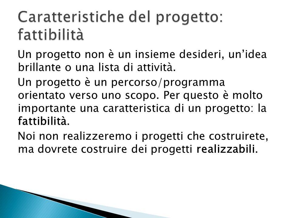 Caratteristiche del progetto: fattibilità