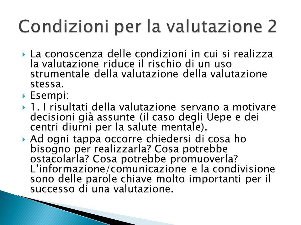 Condizioni per la valutazione 2