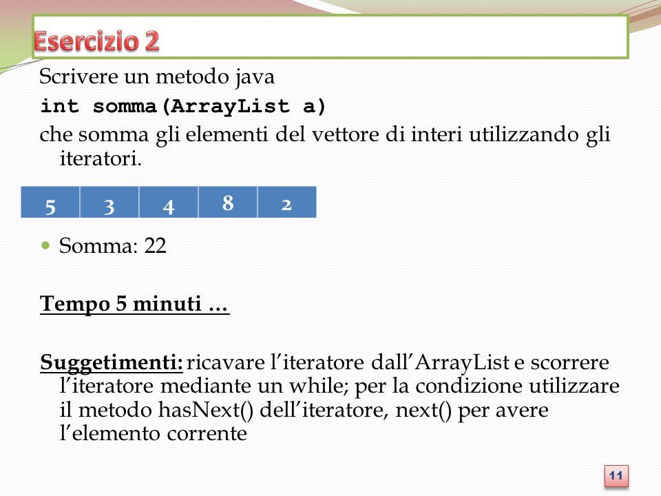 Esercizio 2 Scrivere un metodo java int somma(ArrayList a)