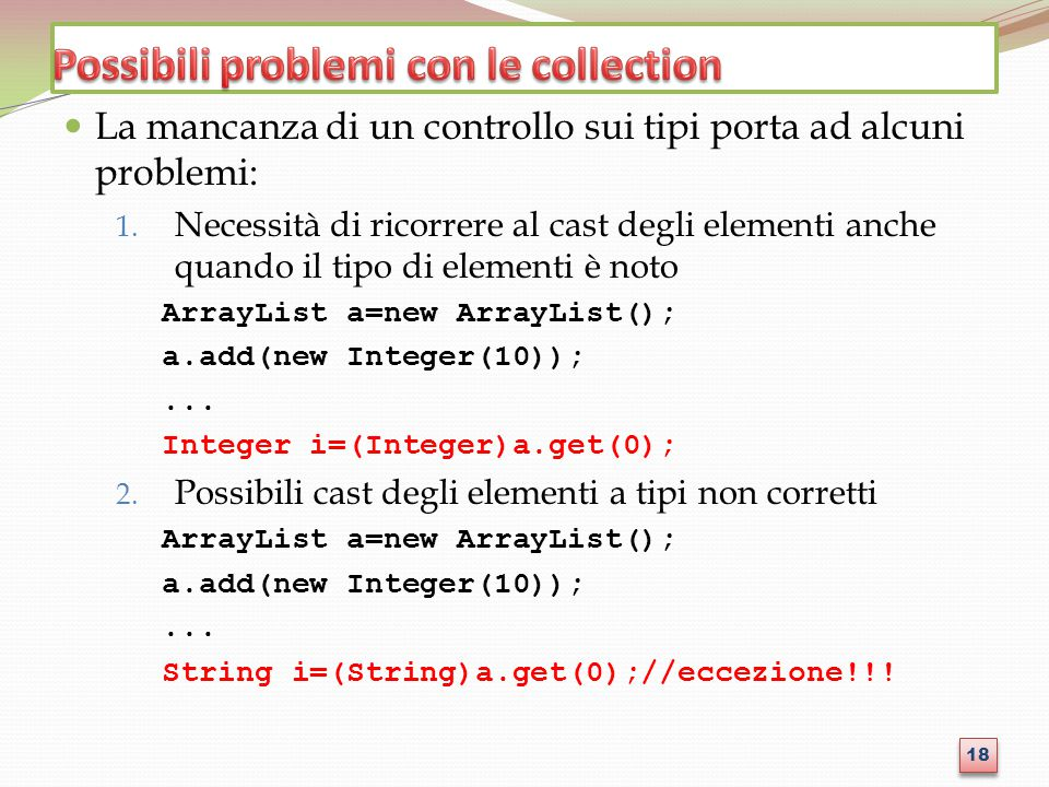 Possibili problemi con le collection