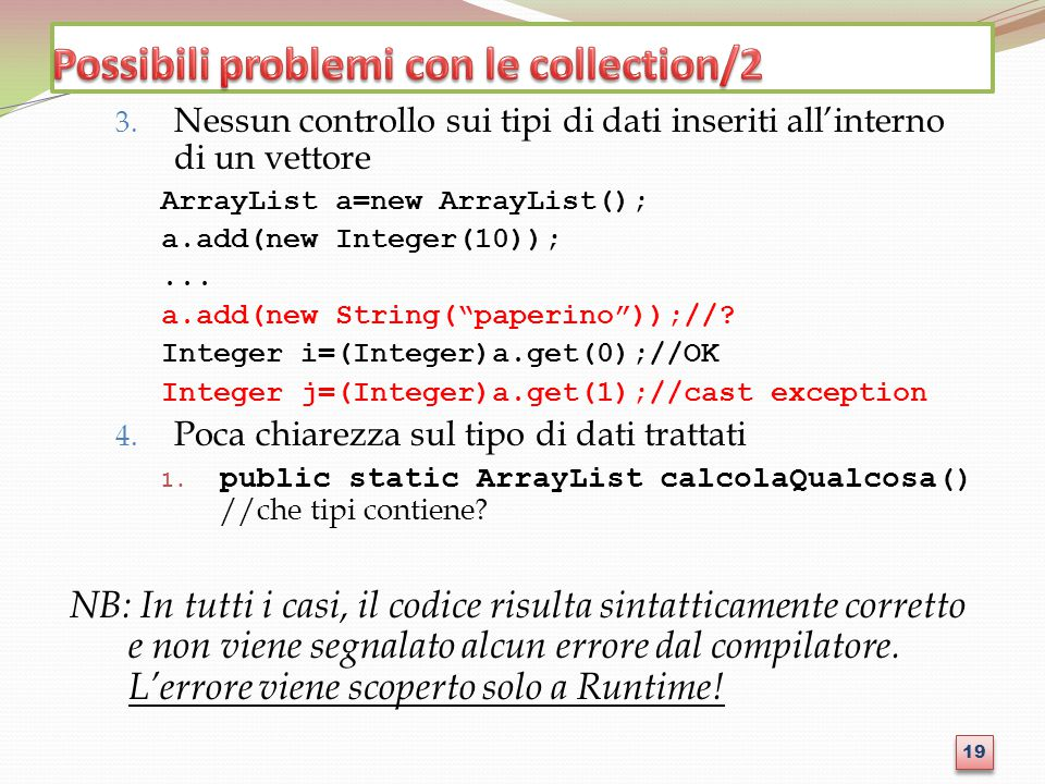 Possibili problemi con le collection/2