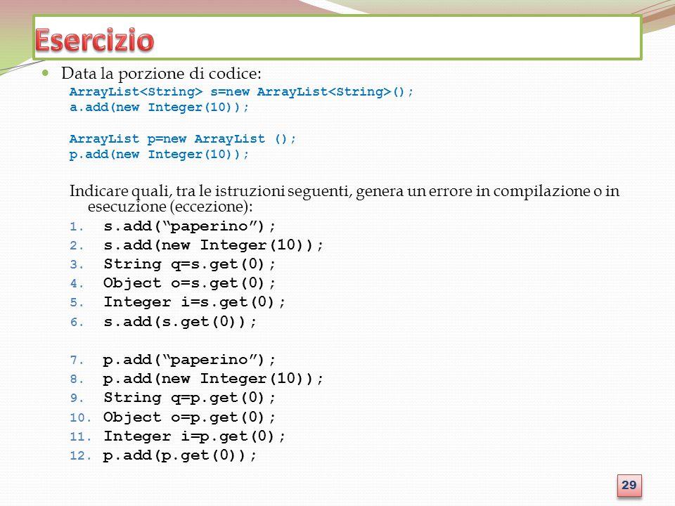 Esercizio Data la porzione di codice: