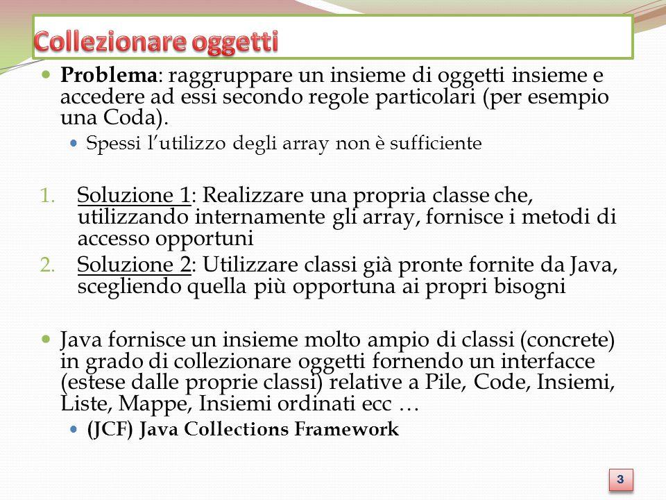 Collezionare oggetti Problema: raggruppare un insieme di oggetti insieme e accedere ad essi secondo regole particolari (per esempio una Coda).