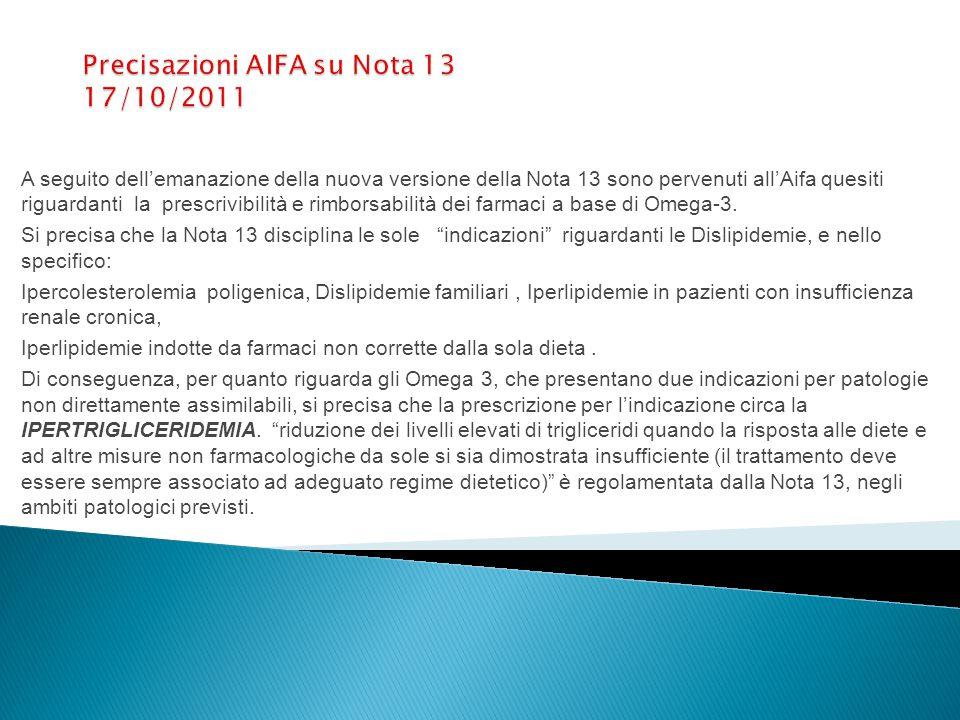 Precisazioni AIFA su Nota 13 17/10/2011