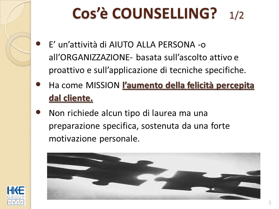 Cos'è COUNSELLING 1/2