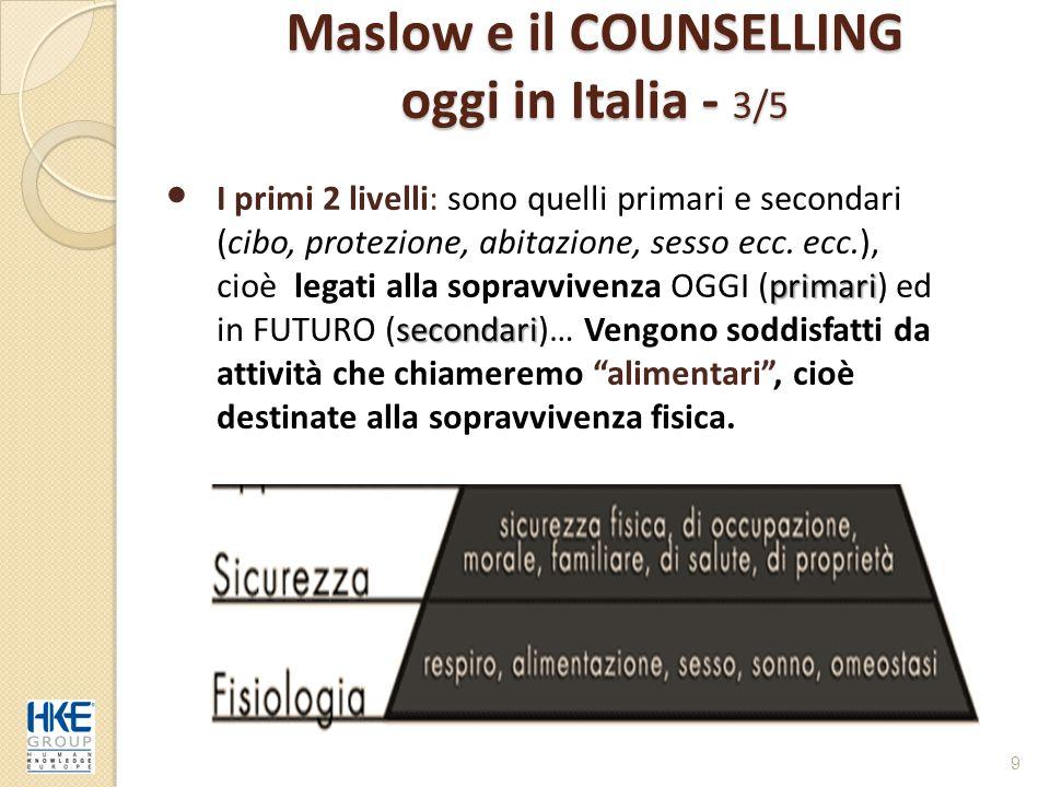 Maslow e il COUNSELLING oggi in Italia - 3/5