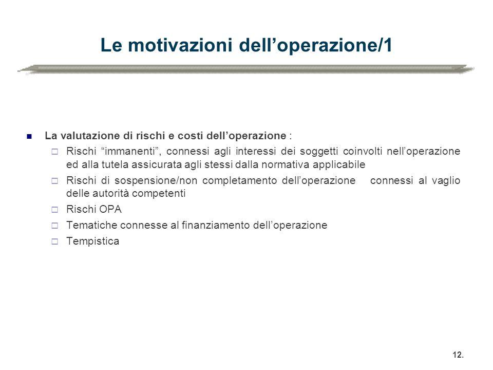 Le motivazioni dell'operazione/1