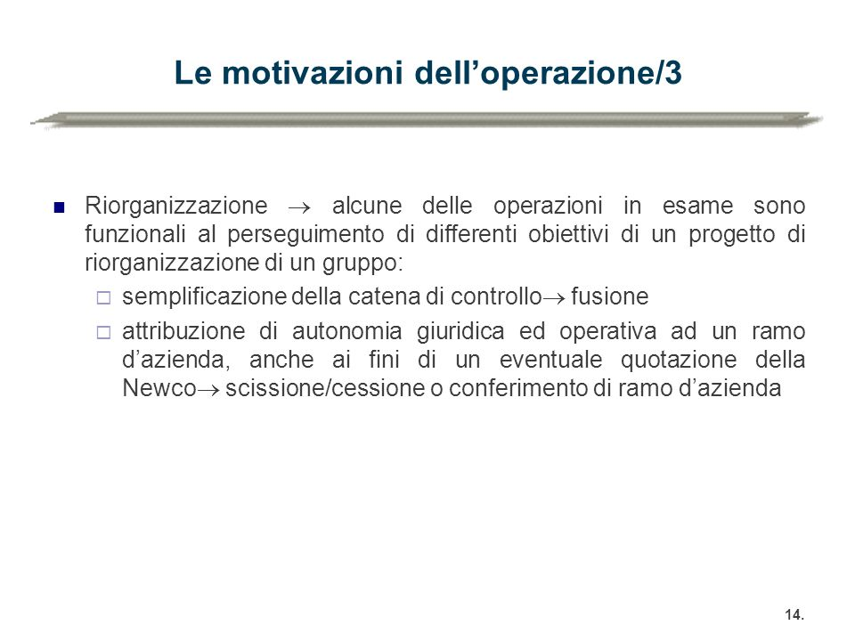 Le motivazioni dell'operazione/3