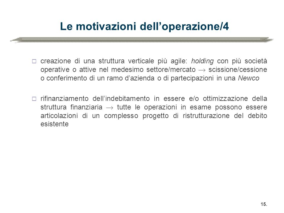 Le motivazioni dell'operazione/4