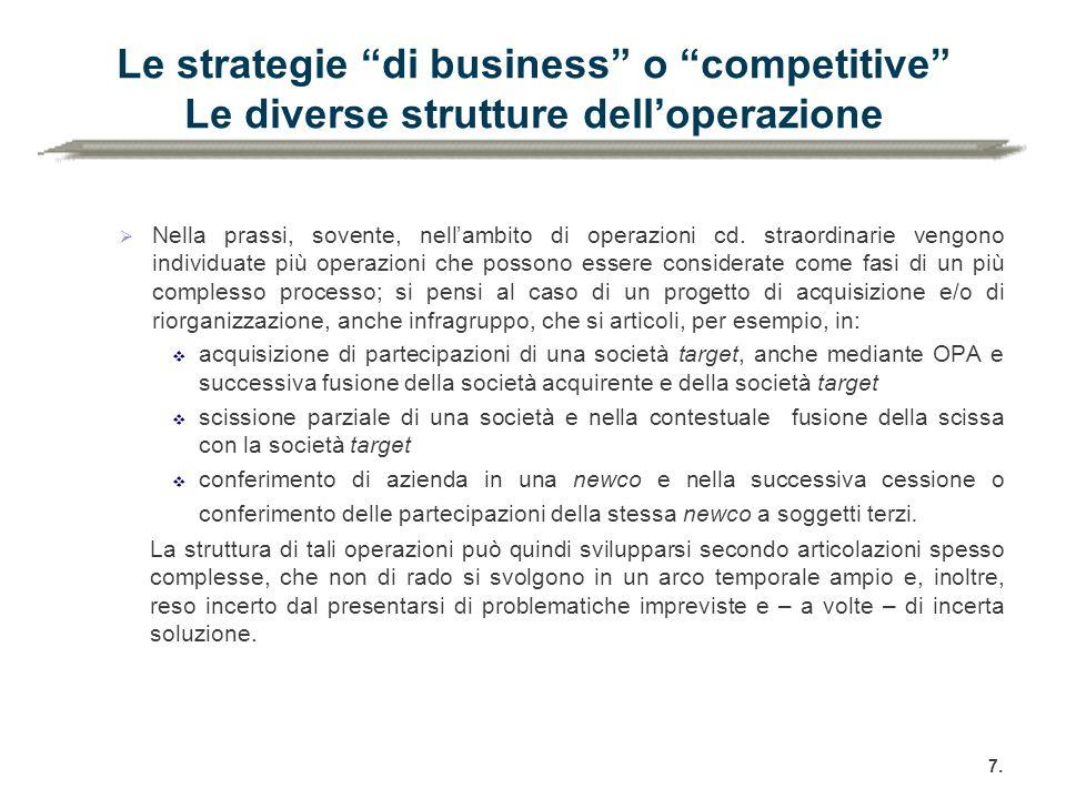 Le strategie di business o competitive Le diverse strutture dell'operazione