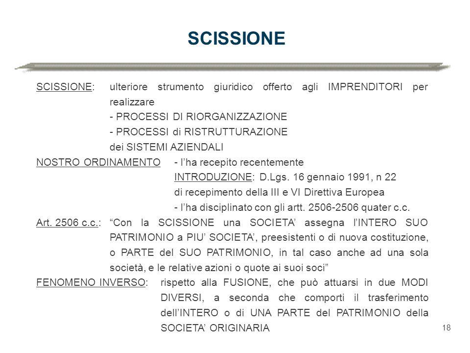 SCISSIONE SCISSIONE: ulteriore strumento giuridico offerto agli IMPRENDITORI per realizzare. - PROCESSI DI RIORGANIZZAZIONE.