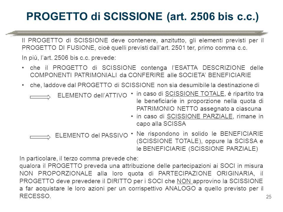 PROGETTO di SCISSIONE (art. 2506 bis c.c.)