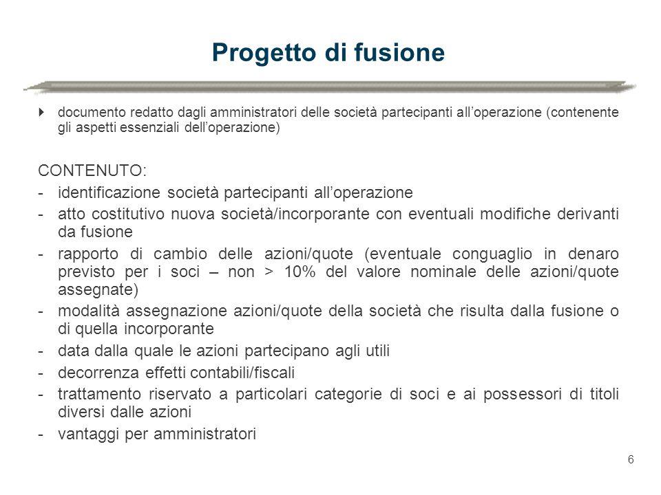 Progetto di fusione CONTENUTO: