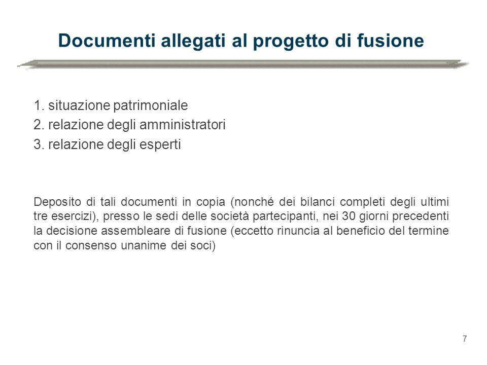 Documenti allegati al progetto di fusione