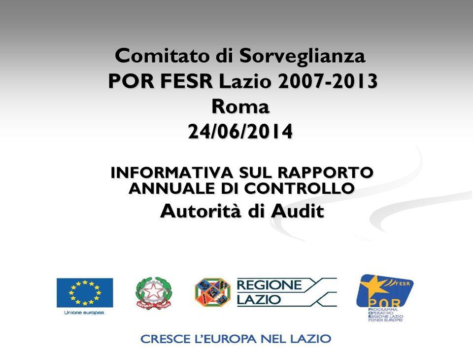 Comitato di Sorveglianza POR FESR Lazio 2007-2013 Roma 24/06/2014