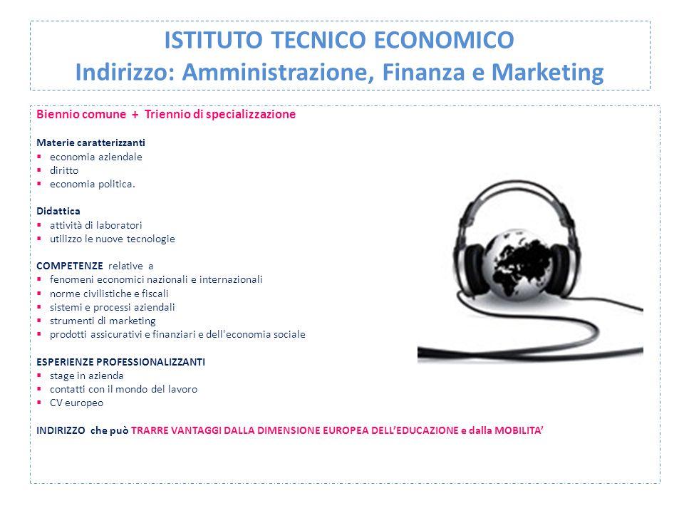 ISTITUTO TECNICO ECONOMICO Indirizzo: Amministrazione, Finanza e Marketing