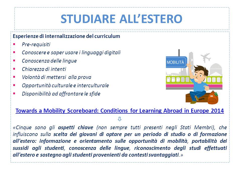 STUDIARE ALL'ESTERO Esperienze di internalizzazione del curriculum. Pre-requisiti. Conoscere e saper usare i linguaggi digitali.