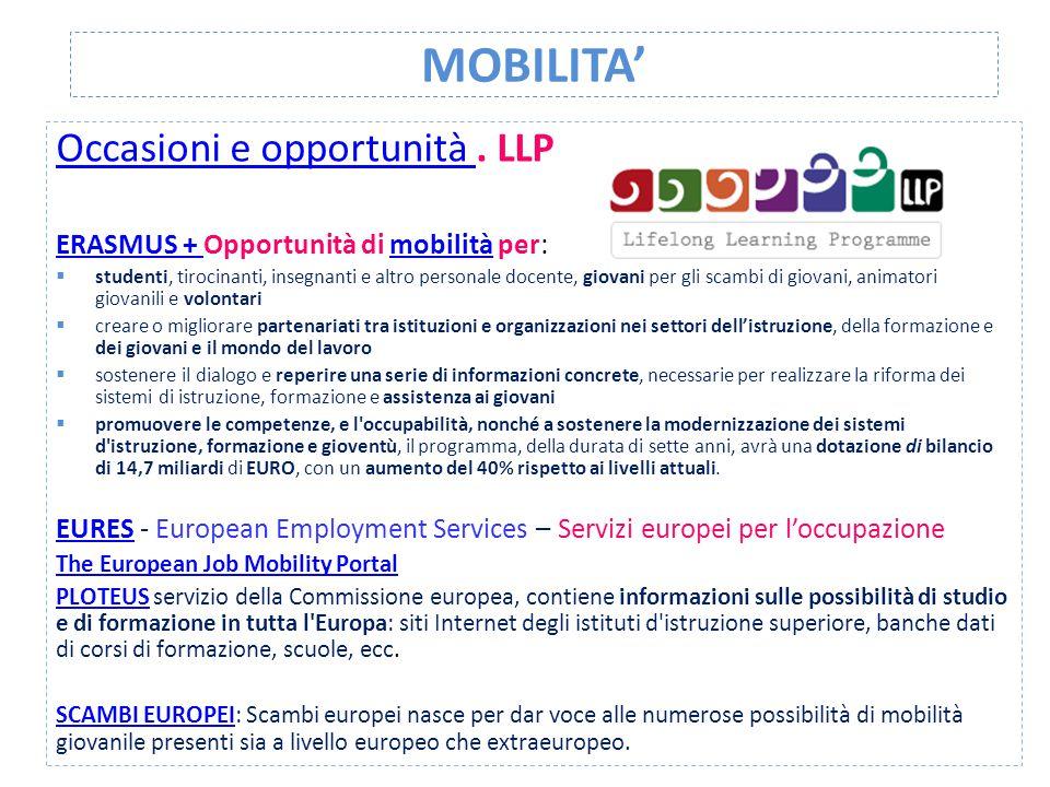 MOBILITA' Occasioni e opportunità . LLP