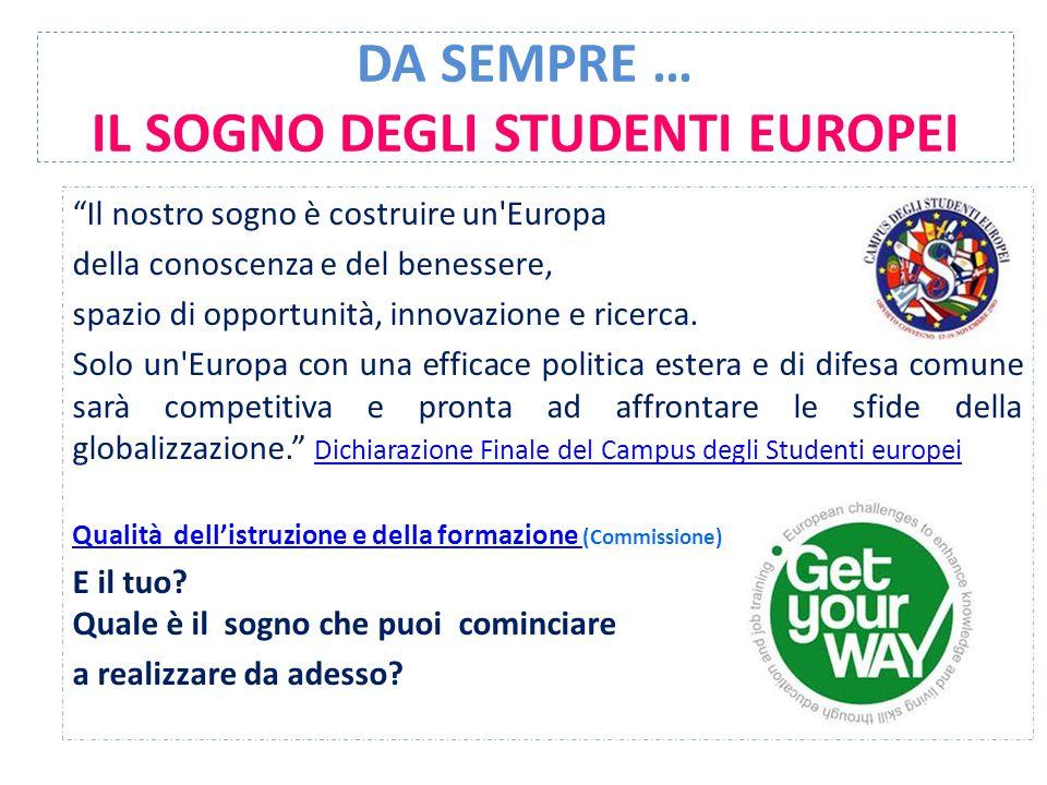 DA SEMPRE … IL SOGNO DEGLI STUDENTI EUROPEI